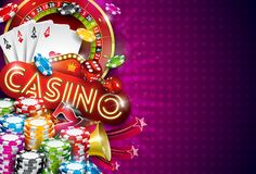 Casino Illustration with roulette wheel and playing chips on violet background. Vector gambling design with poker cards. And dices for invitation or promo royalty free illustration