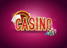 Casino illustration with roulette wheel, poker cards, playing chips and lighting signboard on red background. Gambling. Design for party poster, greeting card Stock Image