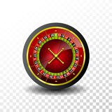 Casino Illustration with roulette wheel on transparent background. Vector gambling design for invitation or promo banner.  Royalty Free Stock Photos