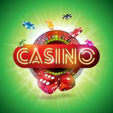 Casino Illustration with shiny neon light letter and roulette wheel on green background. Vector gambling design for. Invitation or promo banner with dice Stock Image