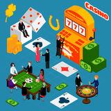 Casino Interior Luck Symbols Isometric Banner Royalty Free Stock Image