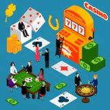Casino Interior Luck Symbols Isometric Banner Royalty Free Stock Image