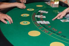 Casino interno: Atrás de Jack Gambling Table preto fotografia de stock royalty free