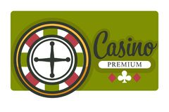Casino isolated icon roulette wheel and play cards suits. Gambling casino club isolated icon roulette wheel vector play cards suits game with money stakes risk stock illustration