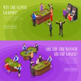 Casino Isometric Banners Royalty Free Stock Photo