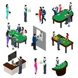 Casino Isometric Set. Casino and people isometric set with gambling and bet symbols  vector illustration Royalty Free Stock Photo