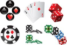 Casino Items And Icons On White Background Royalty Free Stock Photography