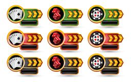Casino items on gold arrow nameplate banners Royalty Free Stock Photos