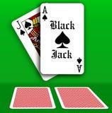 Casino Jack Table noir jouant des cartes Photos libres de droits