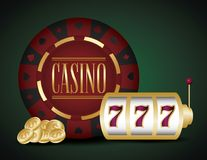 Casino and jackpot design. Casino design with jackpot and money coins over green background, colorful design. vector illustration royalty free illustration