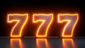 777 Casino Jackpot Symbol With Neon Orange Lights Isolated On the Black Background - 3D Illustration. Casino Gambling Futuristic Concept, Slots 777 3D royalty free illustration