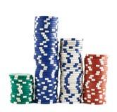 Casino jouant des piles de puces d'isolement Images libres de droits