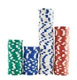 Casino jouant des piles de puces d'isolement Photo libre de droits