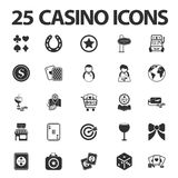 Casino, jouant 25 icônes simples noires réglées pour le Web Image libre de droits