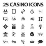 Casino, jouant 25 icônes simples noires réglées pour le Web Photo stock