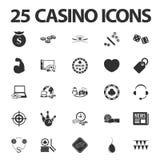 Casino, jouant 25 icônes simples noires réglées pour le Web Images stock
