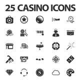 Casino, jouant 25 icônes simples noires réglées pour le Web Image stock