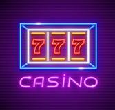 Casino jouant la fente-machine avec le gain de gros lot illustration stock