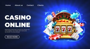 Casino landing page. Gambling roulette website big lucky prize, realistic 3D vector illustration 777 slot machine royalty free illustration