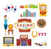 Casino Las Vegas concept. Success, luck, happiness. Gambling, poker, money. Casino Las Vegas. Types money: cards, coins, bills, roulette. Success, luck Stock Photography
