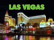 Las Vegas Strip Night Sign, Venetian Hotel Casino Attractions. Las Vegas Strip - Las Vegas sign, night scene.  Venetian Resort Hotel and Casino. Attractions Royalty Free Stock Images