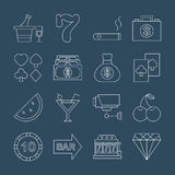 Casino line icon set Royalty Free Stock Photo