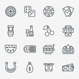 Casino line icons. Poker club and gambling linear signs vector illustration