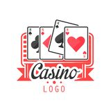 Casino logo, colorful vintage gambling badge or emblem with aces playing cards vector Illustration Royalty Free Stock Photography