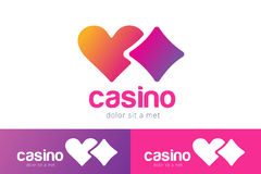 Casino logo icon poker cards or game and hearts Royalty Free Stock Image