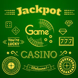 Casino logo and label set game vector illustration. Casino logo and label set, typography design, game roulette vector illustration on green backround vector illustration