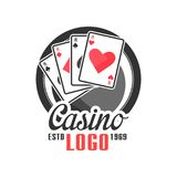 Casino logo, vintage gambling badge or emblem estd 1969 vector Illustration Royalty Free Stock Image