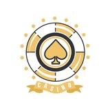 Casino logo, vintage gambling badge or emblem vector Illustration Royalty Free Stock Photos