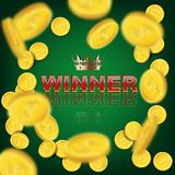 Casino, lottery or sport background. Winner word with golden crown and falling coins on green background. Casino, lottery or sport background. Winner word with Royalty Free Stock Images