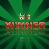 Casino, lottery or sport background. Winner word with golden crown on green striped background. Casino, lottery or sport background. Winner word with golden Stock Images