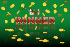 Casino or lottery vector template. WINNER red text with golden crown on green background. Casino or lottery vector template. WINNER red text with golden crown Stock Photos
