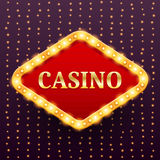 Casino luxury retro banner template with lightbulb glowing on garland lights vector illustration