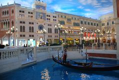 Casino in Macau. Casino with a shopping center in Macau-venice hotel shopping street.  The sky is fake because all the scence we see is indoor Stock Photos