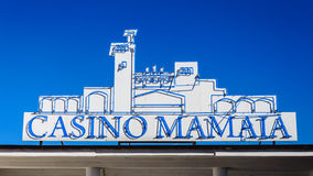 Casino Mamaia neon lights Royalty Free Stock Photos