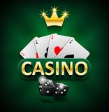 Casino marketing banner with dice and poker cards on green background. Playing jackpot and gambling casino games design. Vector illustration EPS 10 stock illustration