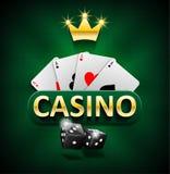 Casino marketing de banner met dobbelen en de pookkaarten op groene achtergrond Het spelen pot en het gokken het ontwerp van casi stock illustratie