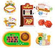 Casino met pookclub die wordt geplaatst Stock Foto's