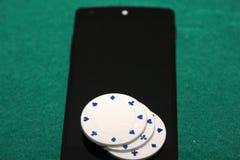 Casino in mobiele telefoon Stock Afbeeldingen
