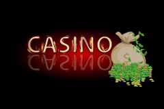 Casino money bag. concept of finance. illustration Royalty Free Stock Images
