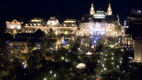 Casino monte carlo. Aerial night view of the Casino square in Monte Carlo Monaco and the park and gardens Stock Photography