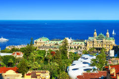 The Casino of Monte Carlo, the Golden Square, and the sea Stock Image