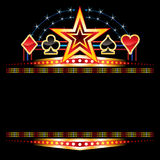 Casino neon. Star and poker symbols over empty neon royalty free illustration