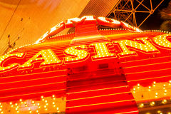 Casino neon on colorful Fremont street which is a part of famous Royalty Free Stock Image