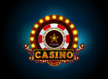 Casino neon light sign Royalty Free Stock Image