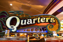 Casino Neon Quarter Sign Stock Photography