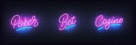 Casino neon set. Glowing lettering sign Poker, Bet, Casino for gambling business.  royalty free illustration